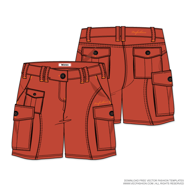 Production drawing cargo pants. Womens shorts vector template