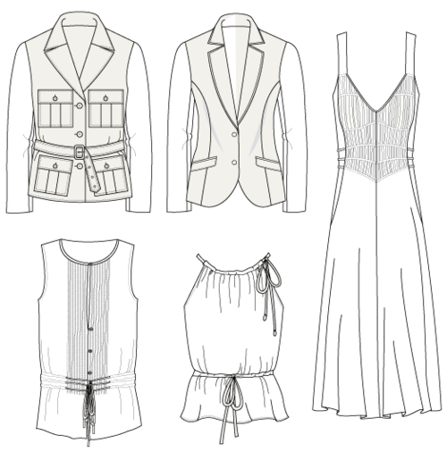 Production drawing fashion. Collection of technical