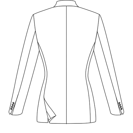 Production drawing jacket. Tailor at drum ladieswear