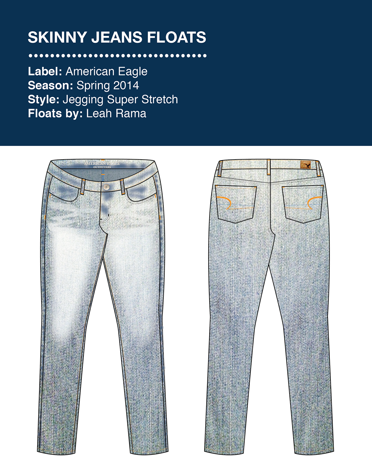 Production drawing jeans. Technical flats floats specs