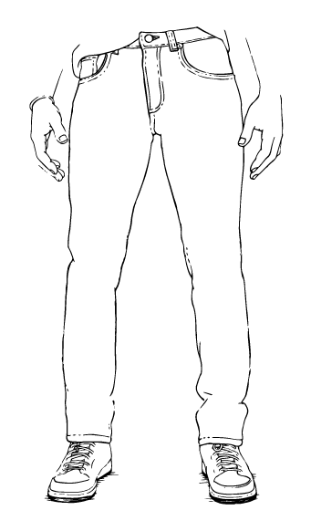 Production drawing jeans. Dearborn denim apparel a