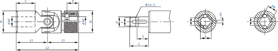 Production drawing universal coupling. Joints catalogue with quick