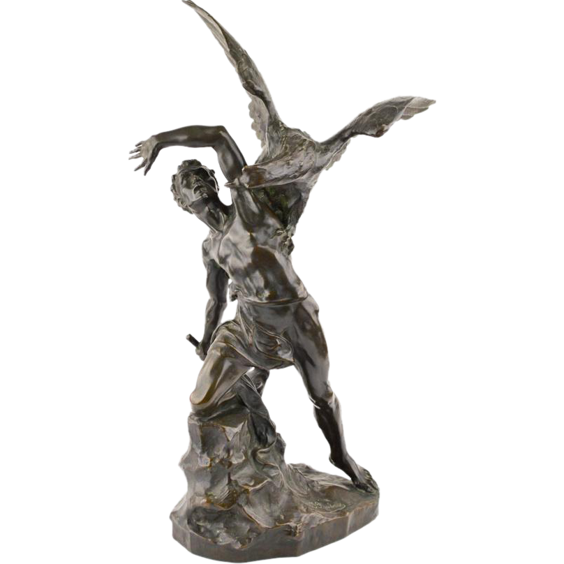 Prometheus drawing sculptural. Bronze of by rombaux