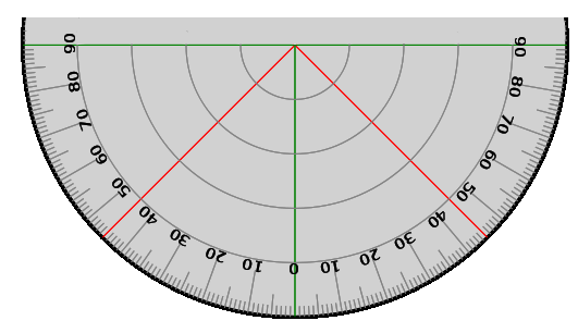 Protractor vector degree marking. Actual size full circle