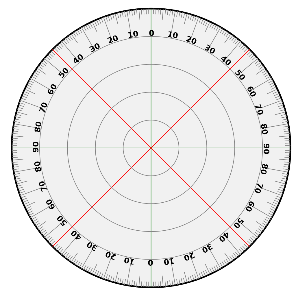 Protractor vector degree marking. File svg wikimedia commons