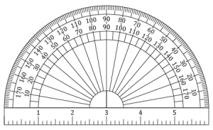 Protractor vector simple. Printable and ruler card