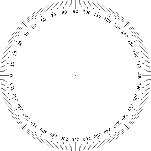 Protractor vector. Degrees angle clip