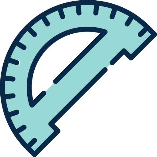 Protractor vector degree marking. Icon with png and