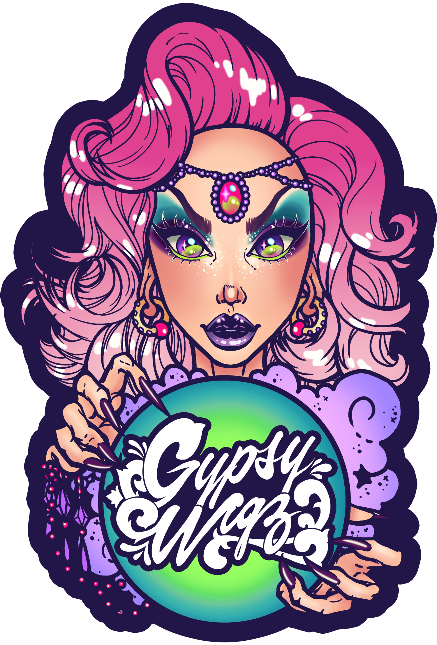 Psychic drawing gypsy woman. Collection of free gipsy