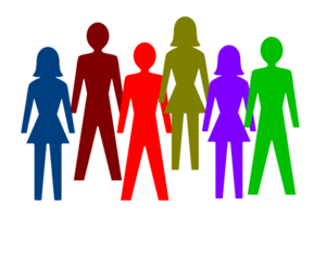 Public clipart group. Colorful of people clip
