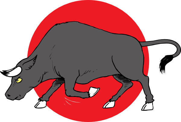 Bull preparing to clip. Public clipart in charge jpg library library
