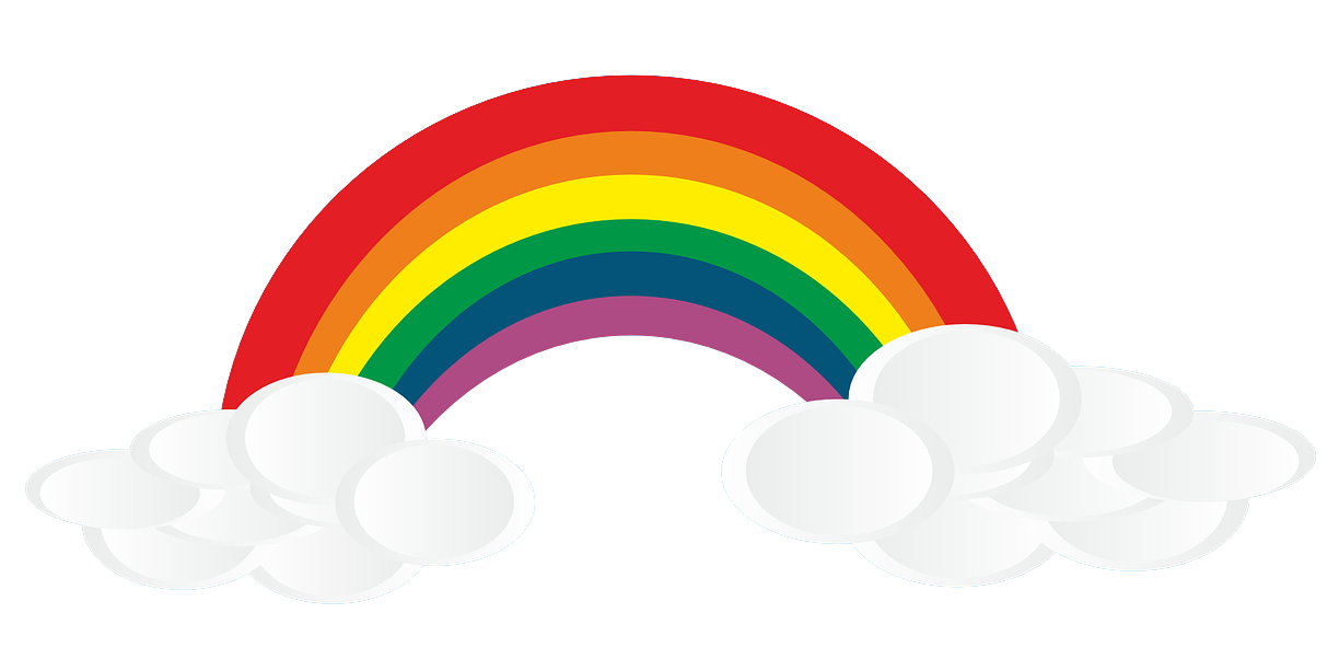 Rainbow with clouds png. Public domain hd transparent