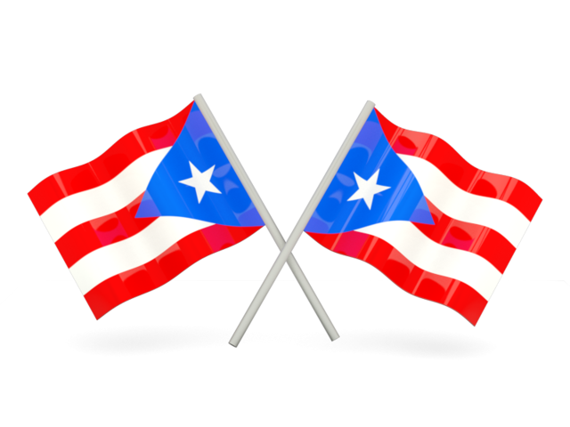 Puerto rican flag png. Two wavy flags illustration
