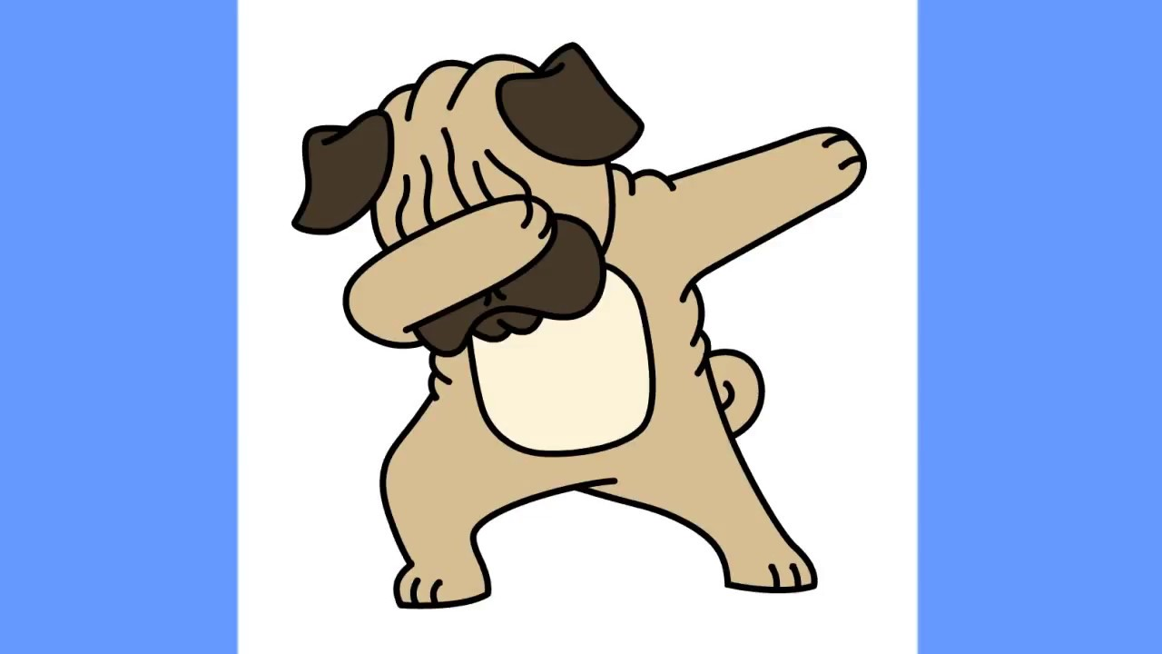 Pug clipart fun 2 draw. How to dabbing step