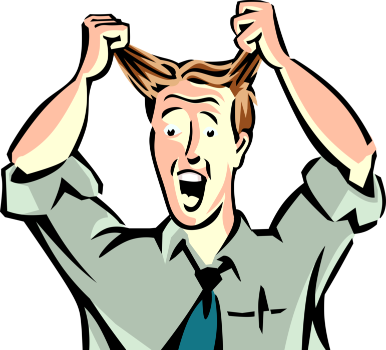 Pulling hair out png. Frustrated executive pulls vector