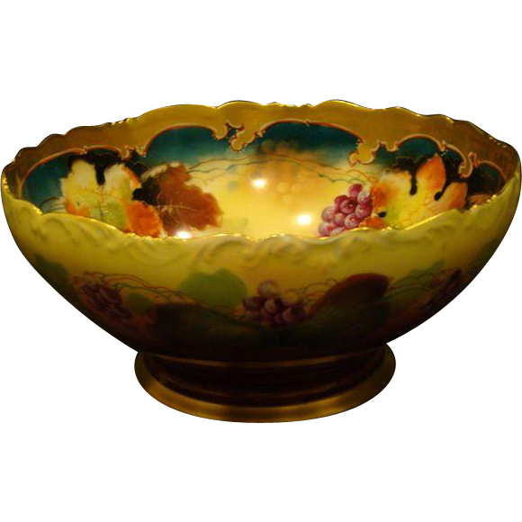 Punch bowl png. Pickard hand painted footed