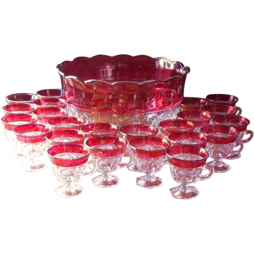 Bowl of punch png. Cranberry set cups vintage