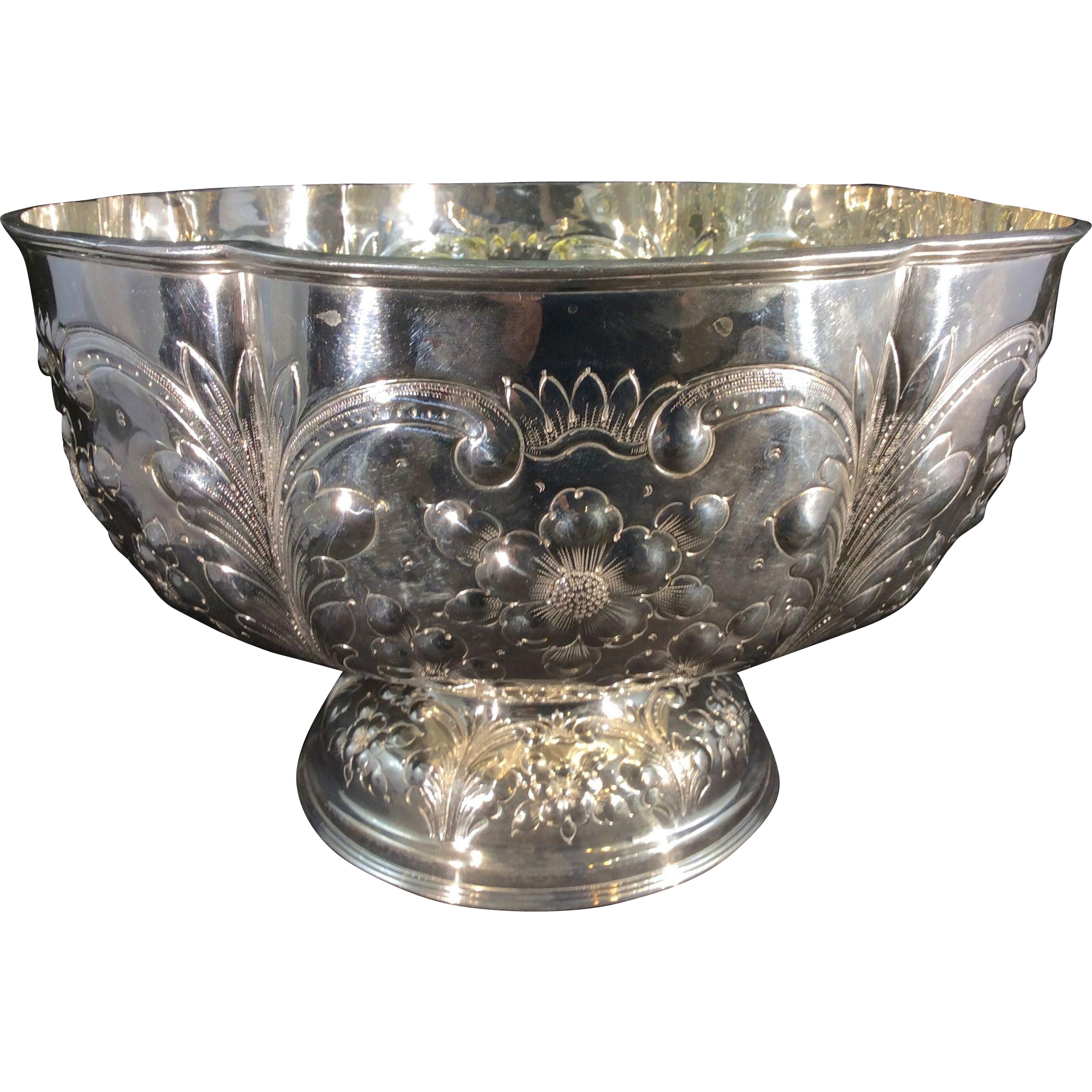 Transparent bowl silver. Old sheffield plate punch