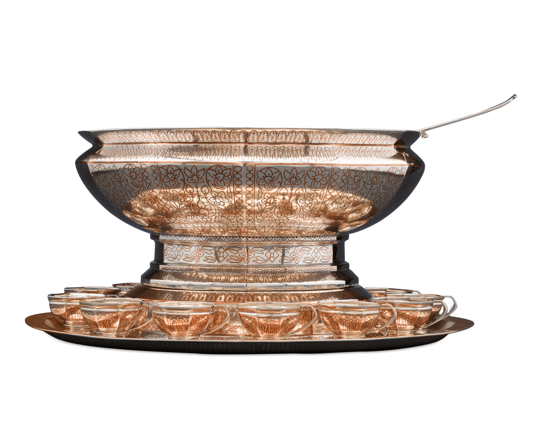 Punch bowl png. Tiffany copper inlaid antique