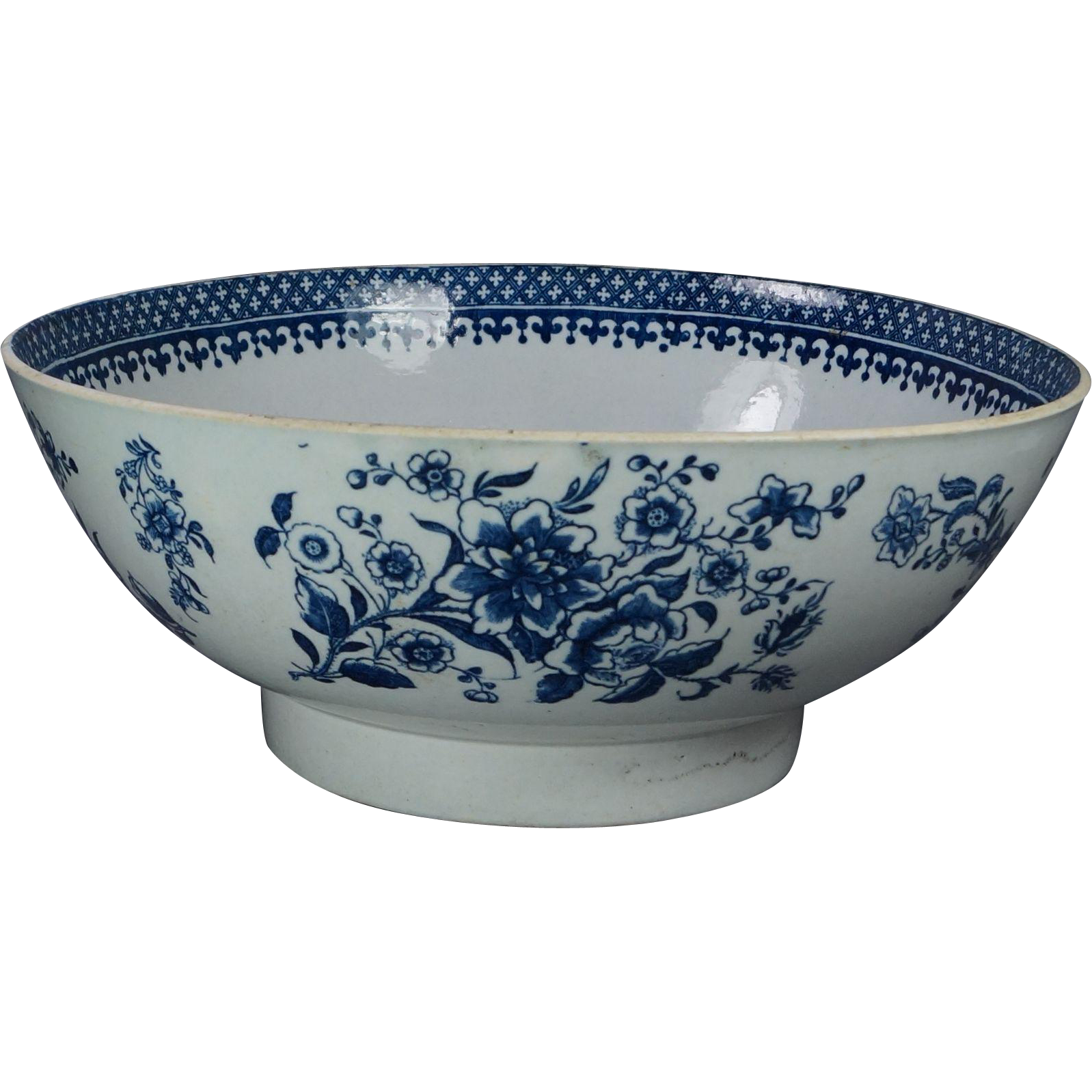 Punch bowl png. Antique blue and white