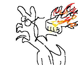 Punching drawing. Fire hand a dog