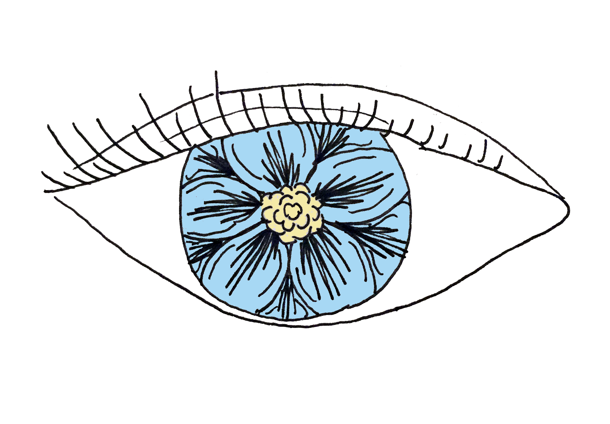 Drawing steampunk eye. Flower pupil blue eyeball