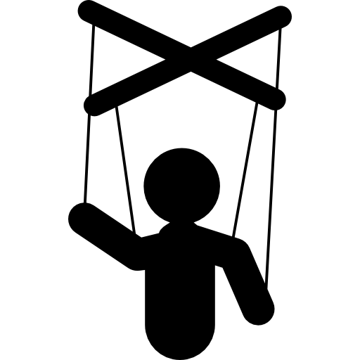 Puppeteer drawing marionette. Puppet silhouette free icons