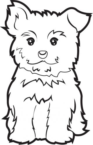 Puppy clipart black and white. Yorkie