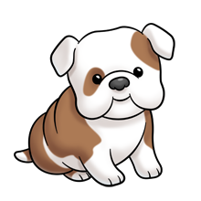 Puppy clipart bulldog. Super cute website digital