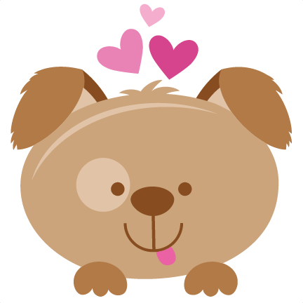 Valentine scrapbook cut file. Puppy svg graphic stock
