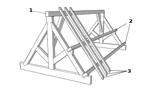 Attic drawing old wooden. Timber roof truss wikipedia