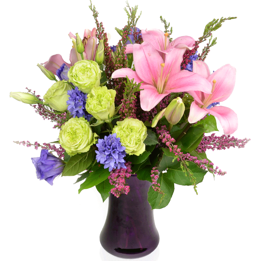 Purple bouquet png. Tender heart flower arrangement