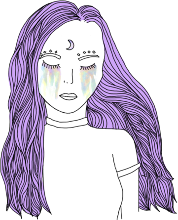 Purple drawing. Girl draw outline tumblr