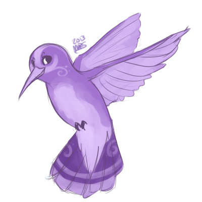 Purple drawing. Little bird by xbadgerclaw