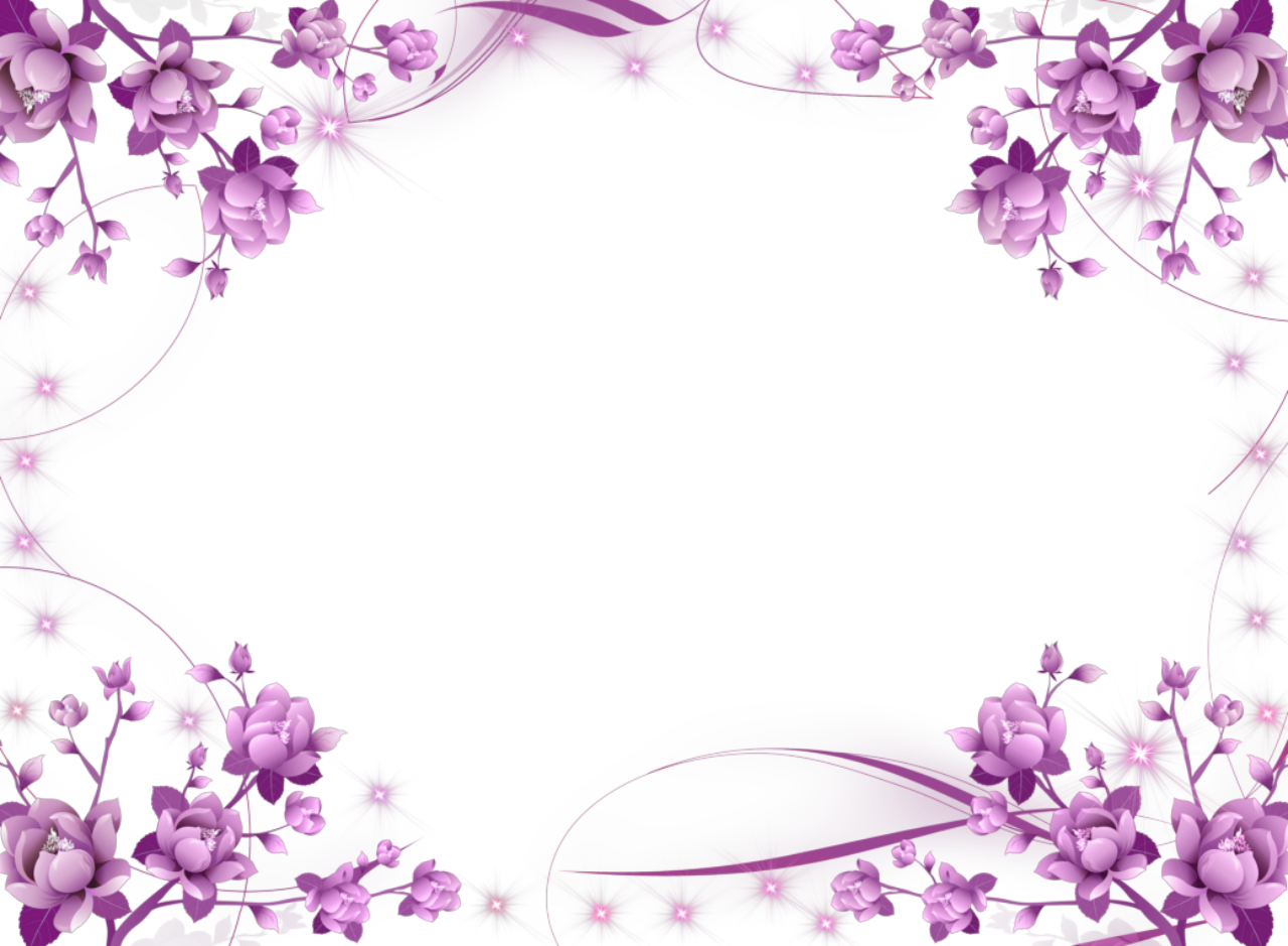 Purple flower border png. Frame hd vector clipart