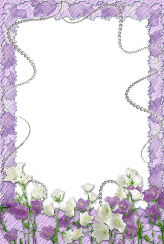 Purple flower border png. Soft transparent frame with