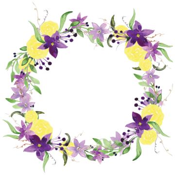 Purple flower border png. Yellow flowers vectors psd