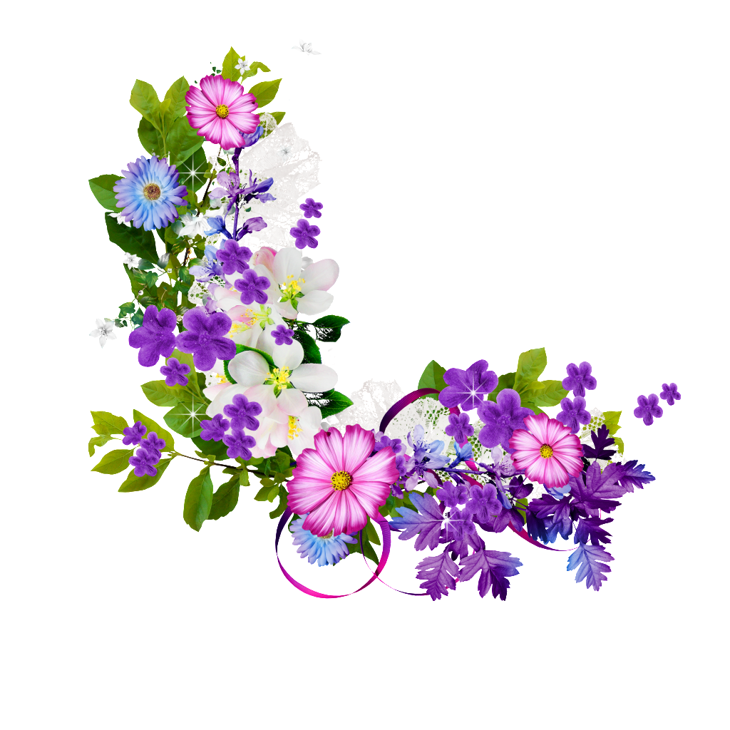 Purple flower border png. Bouquet of flowers transprent
