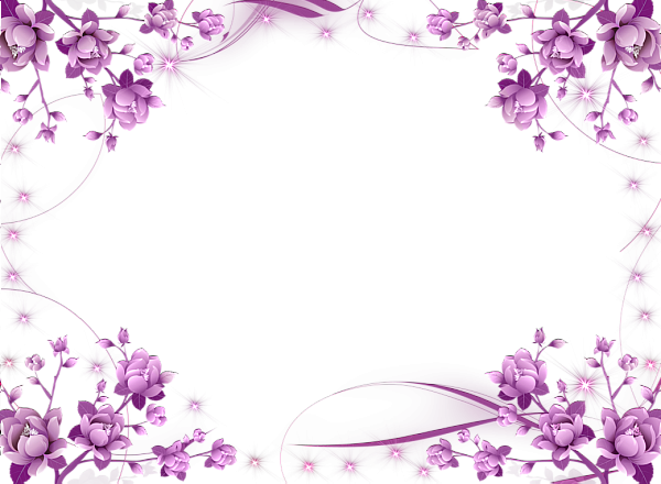 Purple flower border png. Pink violet transparent photo