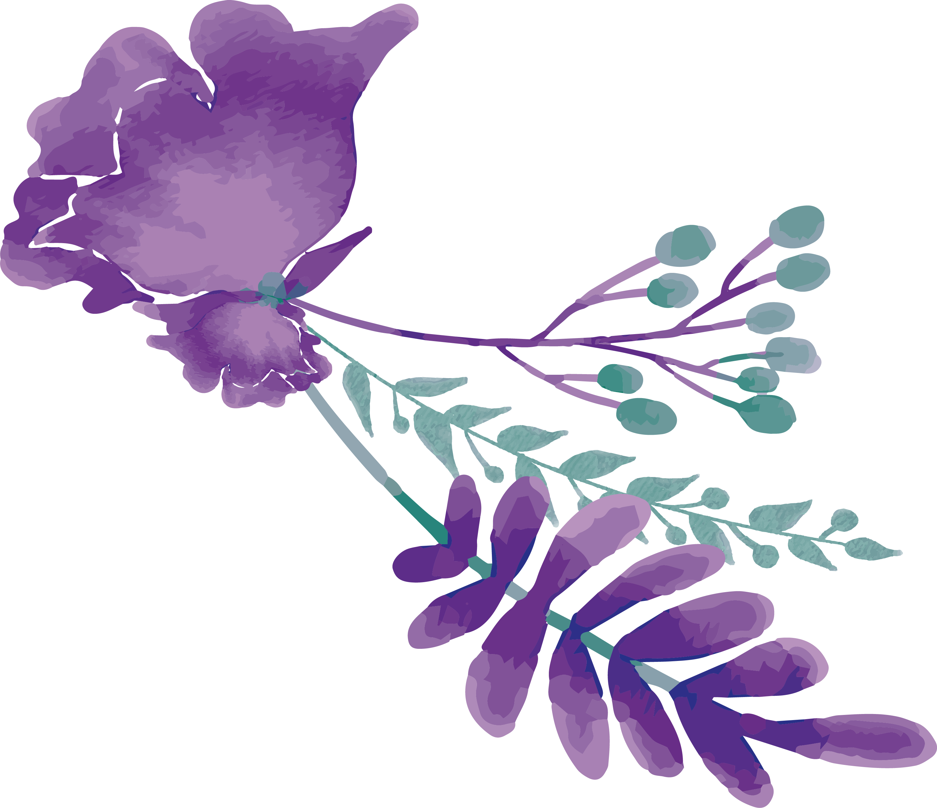 Purple flower png. Vector clipart psd peoplepng