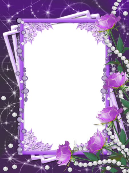 Purple frame png. Flower borders and frames