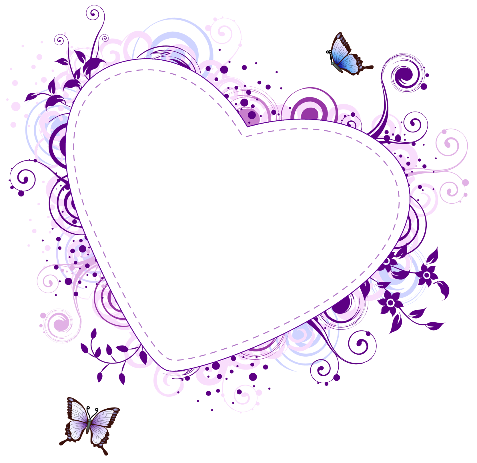 Purple hearts png. Download border frame free