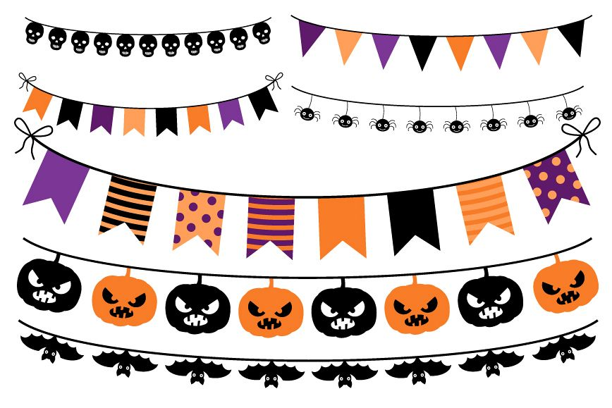 Purple orange. Halloween bunting clipart flags