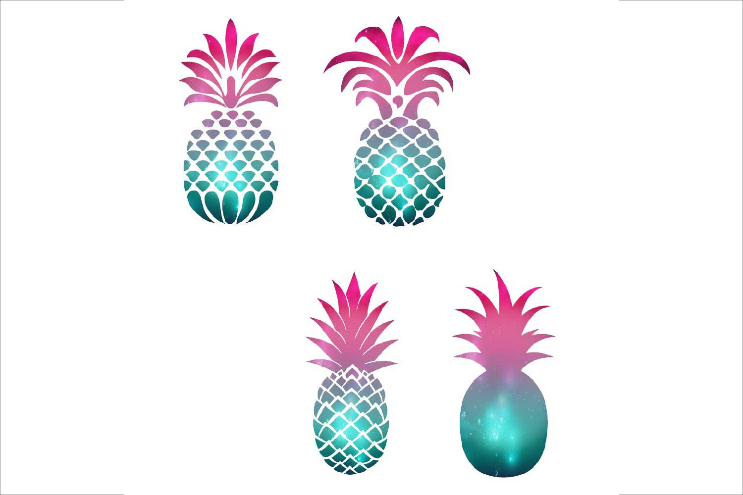 Purple pineapple. Silhouettes clipart