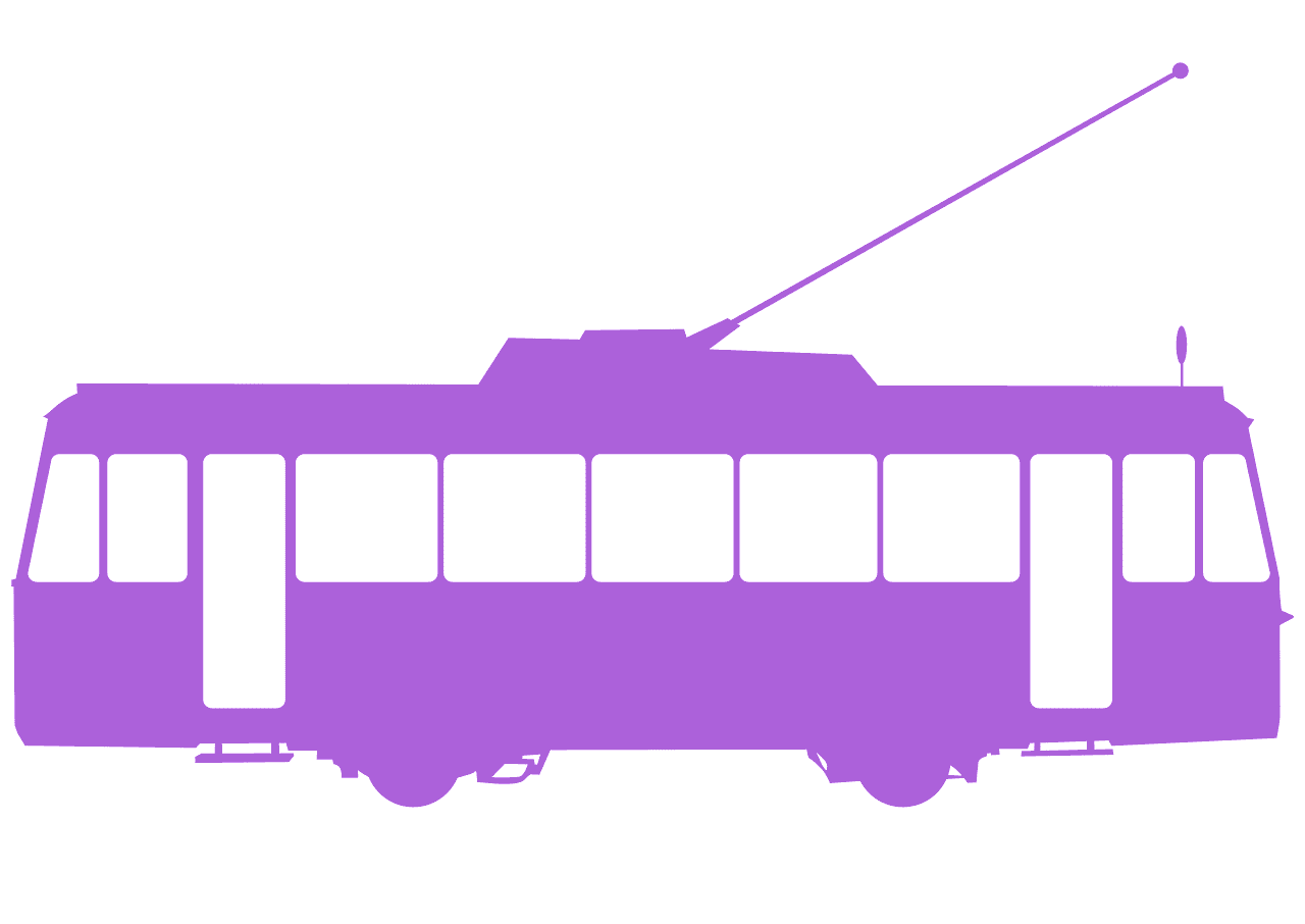 Violet tram. Silhouette free vector silhouettes