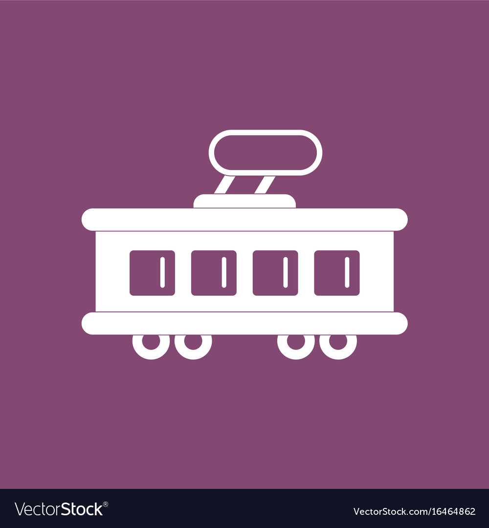 Violet tram. Icon silhouette