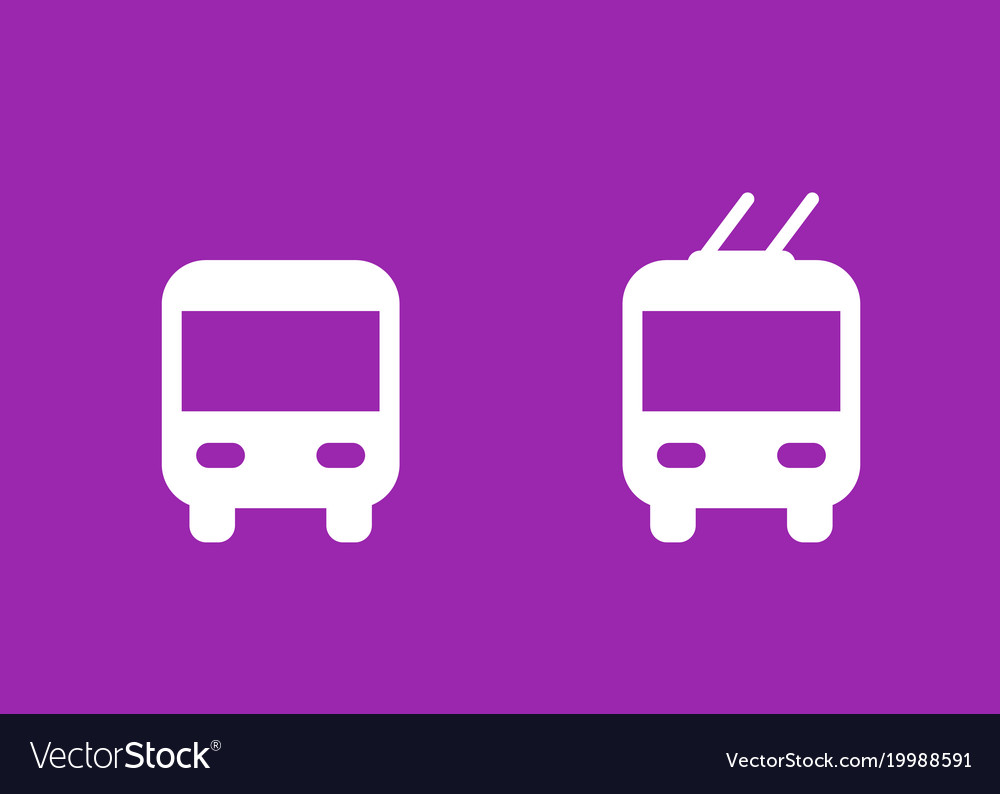 Purple trolleybus. Bus and icons transport