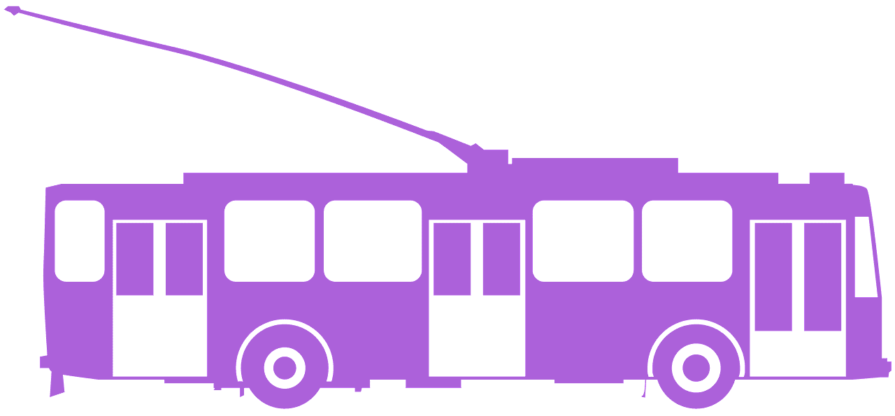 Purple trolleybus. Silhouette free vector silhouettes
