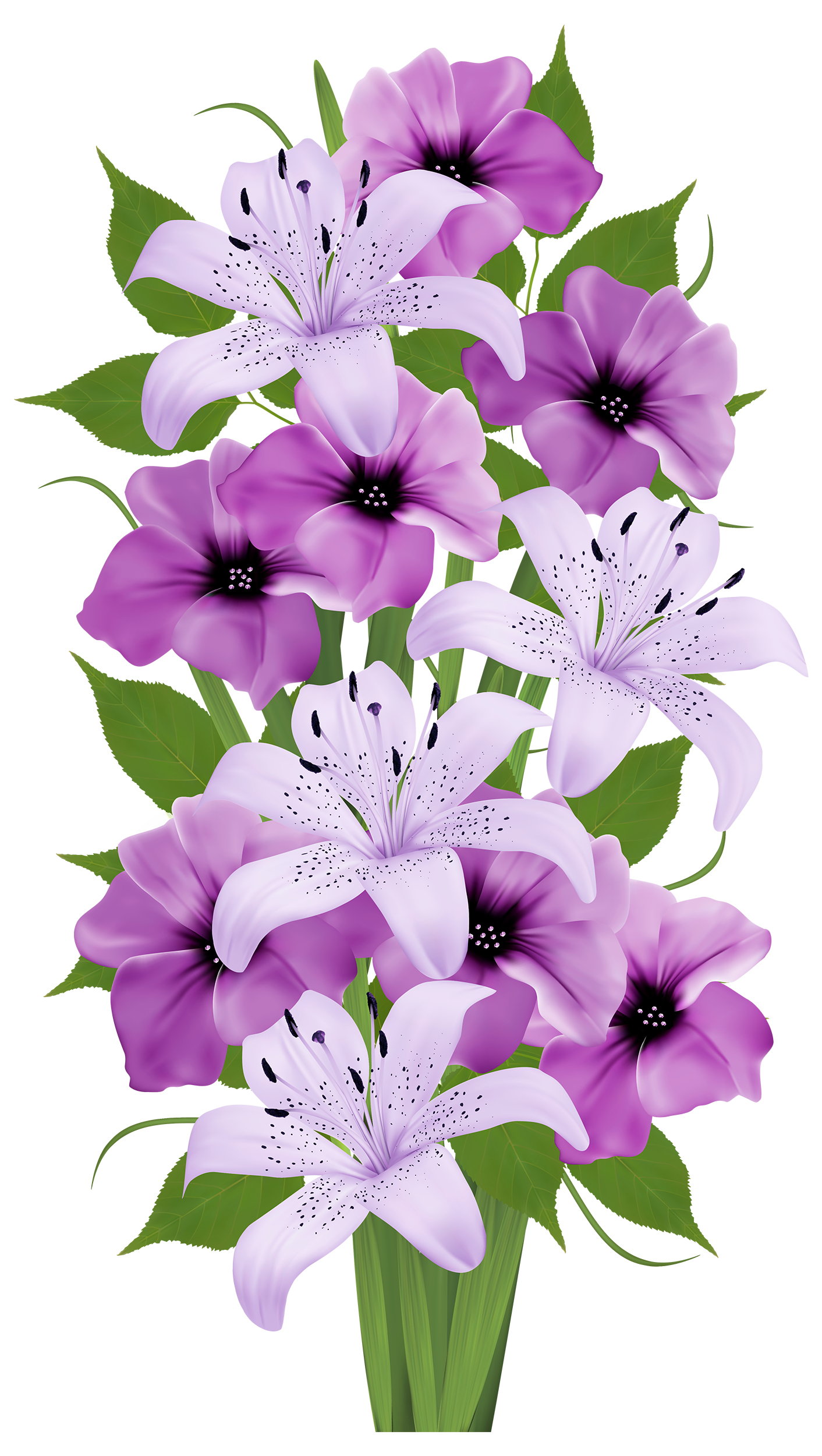 Bouquet vector clip art flower. Purple lilies everyday for