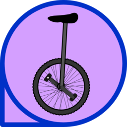 Purple unicycle. Icon clipart i royalty